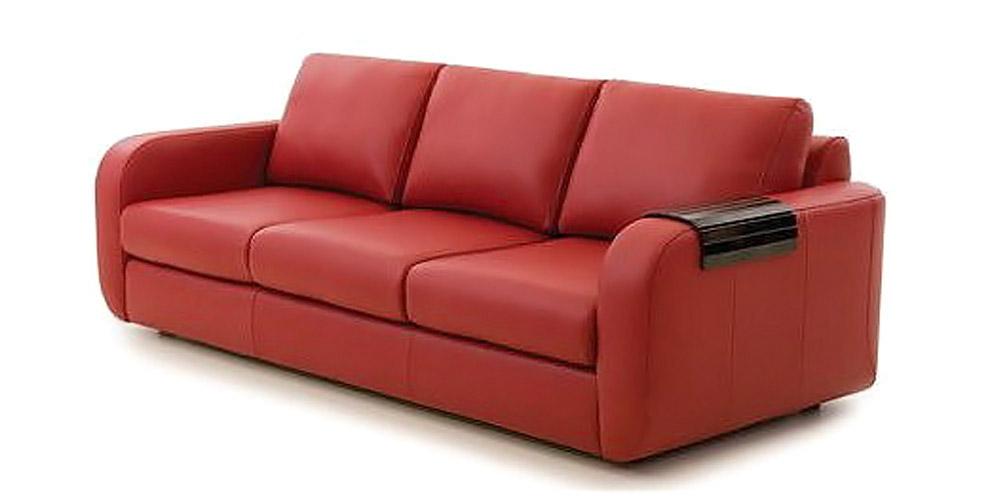 Divano Rosso Posti: Divano convertibile 3 posti MANHATTAN rosso pelle Miliboo.