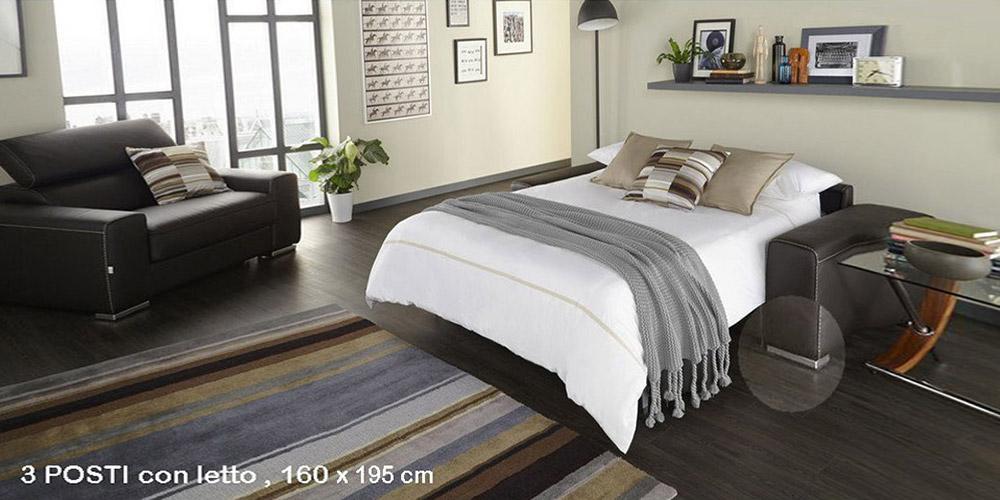 Divano in pelle divano in tessuto modello tempo - Divano 3 posti letto ...