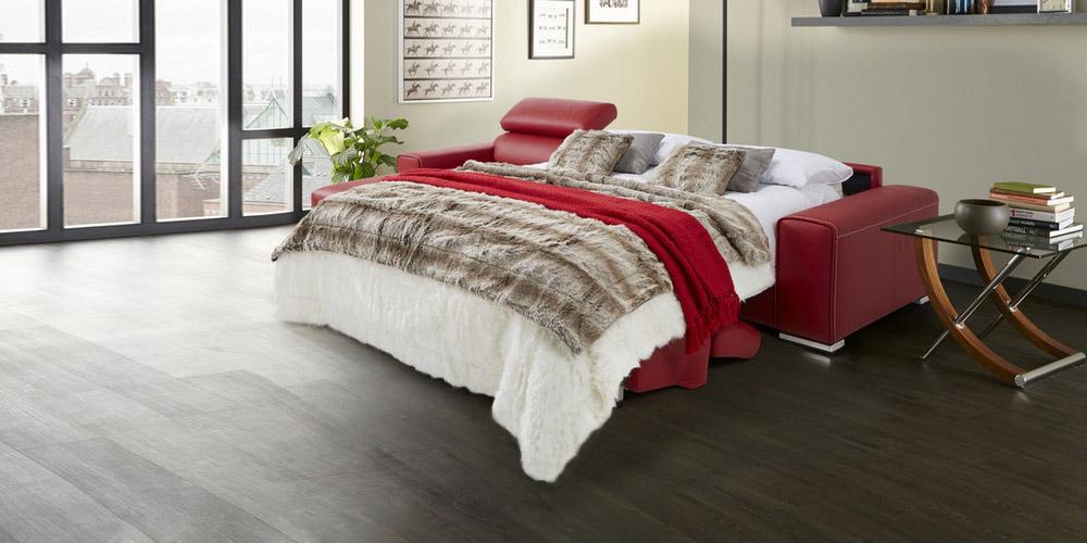 Divano in pelle divano in tessuto modello tempo - Divano letto aperto ...