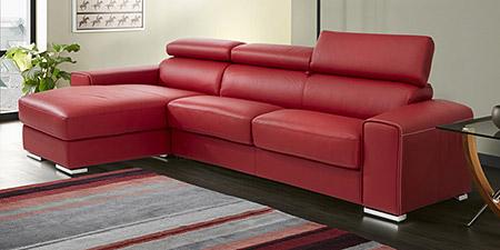 Divani in pelle e tessuto divani per tutti collezione - Divano letto angolare rosso ...